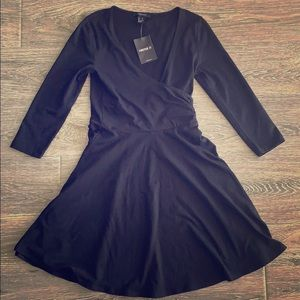 NWT Forever 21 black knit long sleeve small dress